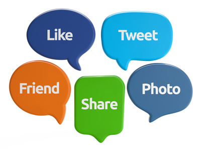 social media speech bubbles (like, tweet, friend, share, photo) isolated white background include clipping path
